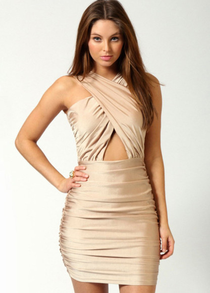 dress skirt silk fashion sexy clothes nude bandage dress