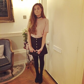 marzia cutiepiemarzia vintage cute skirt choker necklace jewels jewelry black choker buttons gold black pretty outfit pink girly lovely high waist black dress shirt loose baggy light baby pastel sweater top blouse short sleeve long short denim tights leggings shoes sweet