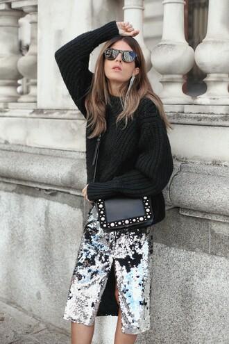 skirt disco skirt midi skirt sequins sequin skirt slit skirt glitter skirt silver skirt sweater black sweater knit knitwear knitted sweater sunglasses