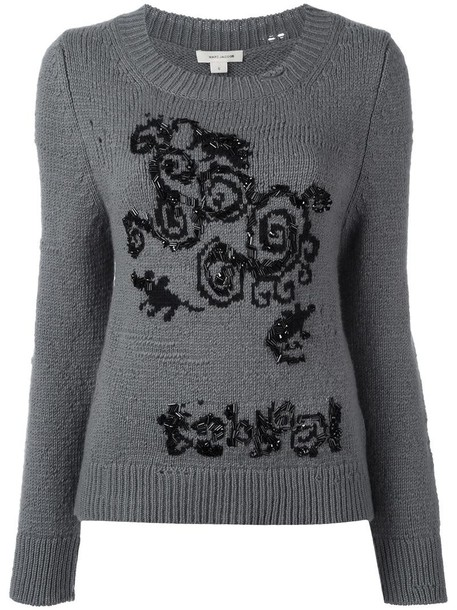 jumper knit women wool grey sweater
