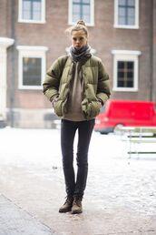 jacket,beige sweater,black jeans,combat boots,blogger,green puffer jacket