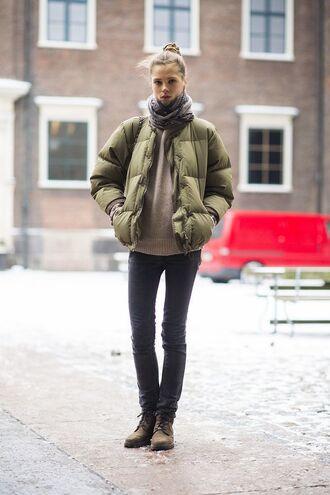 jacket beige sweater black jeans combat boots blogger green puffer jacket