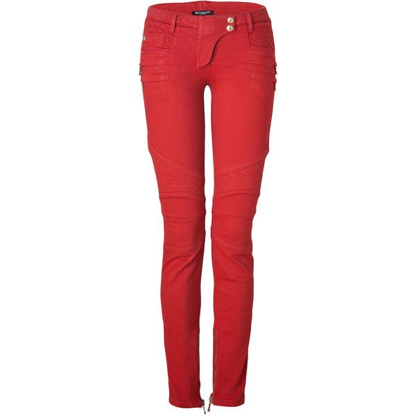BALMAIN Rouge Low-Rise Denim Biker Jeans - Polyvore