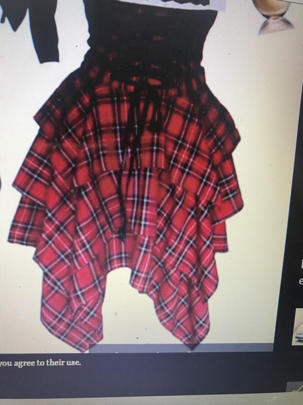 shirt red black tartan plaid tartan skirt punk grunge high waisted