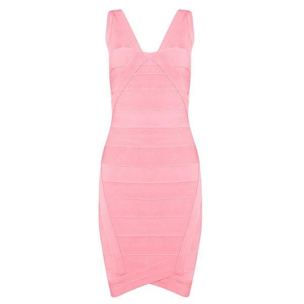 dress pink v neck bandage dress red carpet evening dress