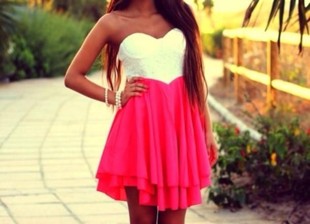 Dress: white dress, pink dress, white, pink, red dress ...