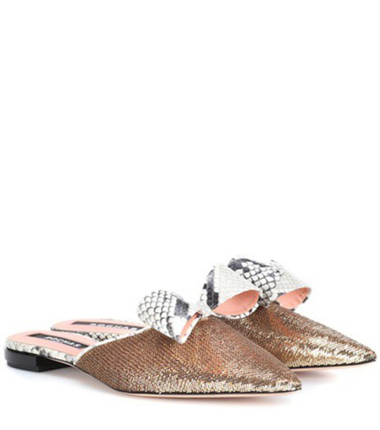 Rochas slippers gold shoes