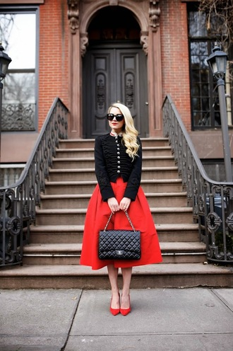 atlantic pacific blogger red heels midi skirt black jacket red skirt jacket skirt shoes sunglasses bag