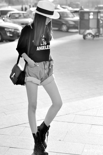 shirt t-shirt shorts high waisted shorts boots little black boots bag perfecto black dress hat look looking for these shoes in black shoes faded blue rolled up black white short blouse top cuffed shorts sweater los angeles boyfriend jeans crop tops