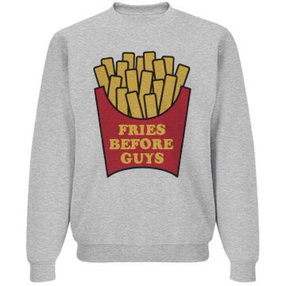 sweater food shirt fries fries before guys top guys socks, fabulous, food, animals ❤