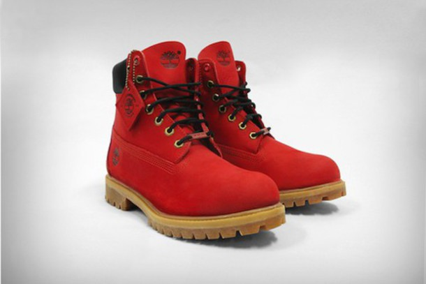 Shoes: timberlands, men boots, men tims, boots, red ...