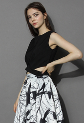 top,chicwish,textured black cropped top with cutout waist,black top,crop tops,cutout top,textured top,chicwish.com