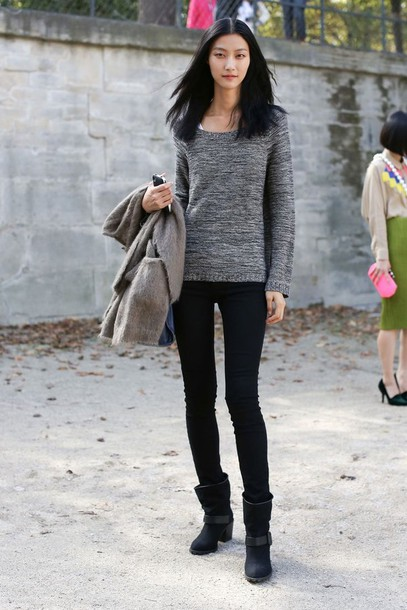 Sweater: scoop neck, leggings, boots, black, streetstyle, heather ...