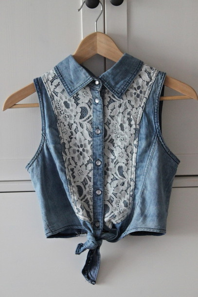 top deni lace blue shirt lace shirt shirt clothes blouse crop tops crop tops t-shirt