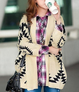 New tribal print chunky taupe black sweater navajo comfy shrug fall large