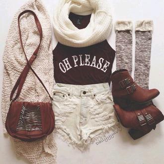 bag shoes cardigan socks blouse