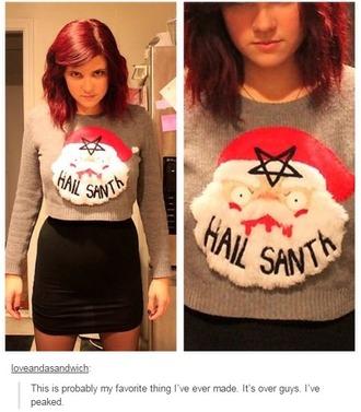 sweater hail santa christmas santa girl red hair skirt ugly christmas sweater