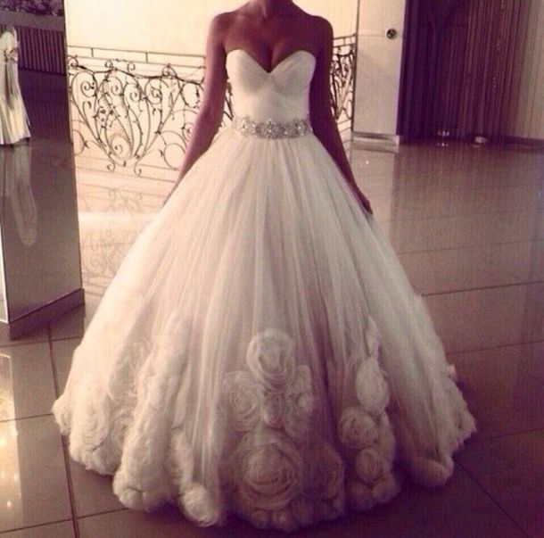 Dress Wedding White Sparkle Bustier Princess Dresses Waist Belt Full Length Beautiful Jewels