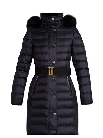 coat fur quilted navy