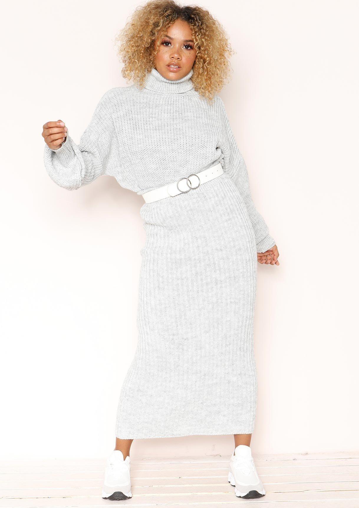 Vicki Grey Knit Jumper Midi Co-ord Set