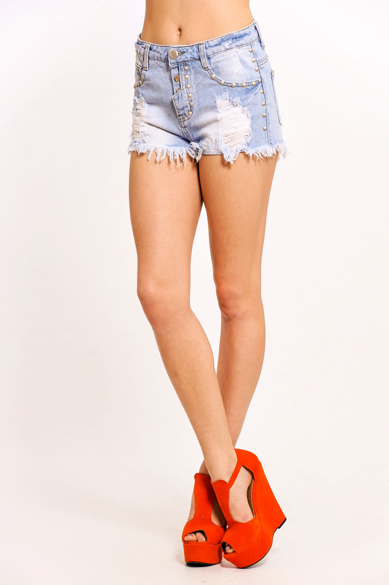 Makea Distressed Denim Shorts