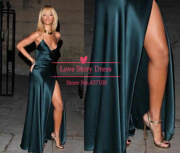 Aliexpress.com : buy 2014 fashion robe de soiree rihanna v neck split satin backless spaghetti strap celebrity dresses formal evening dress prom gown from reliable dresses green suppliers on suzhou lovestory dress store