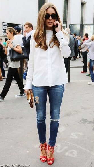 blouse streetwear shirt shoes red sandals sandals jeans ripped jeans white shirt clutch olivia palermo fashionista sunglasses cat eye streetstyle