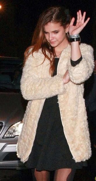 coat barbara palvin jacket fluffy cream cream jacket fuzzy coat barbra palvin candid furry coat blouse