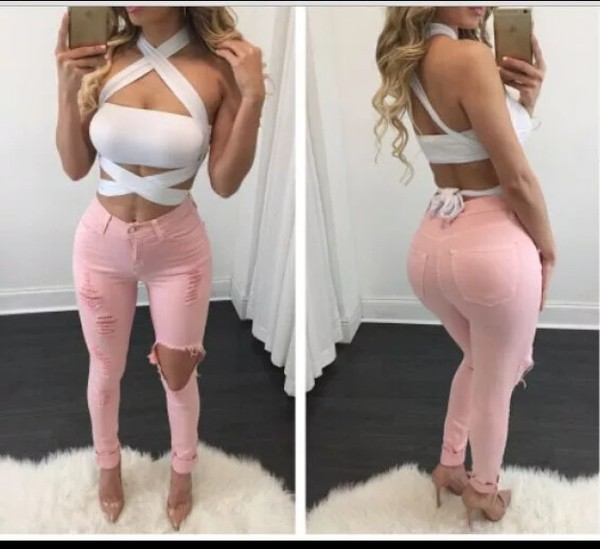 jeans pink jeans pink pants ripped jeans skinny jeans - Glistening Jeans - Light Pink Fashion Nova
