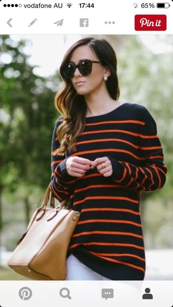 Sweater: stripes, black and orange, long sweater - Wheretoget
