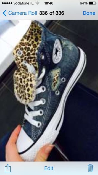 shoes converse high tops cheetah print denim converse high tops new nice fashion sneakers ripped ripped denim