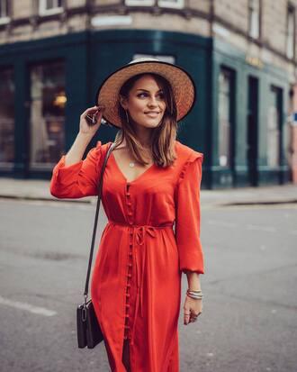 dress sun hat tumblr red dress button up v neck v neck dress hat