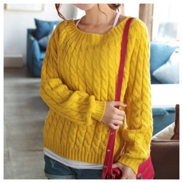 Sweater: yellow, knitwear, t-shirt, top, blouse, fall outfits ...