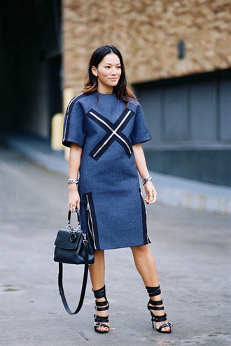 vanessa jackman blogger dress cross blue dress short sleeve dress
