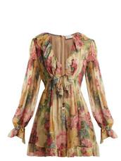 floral,print,silk,beige,romper