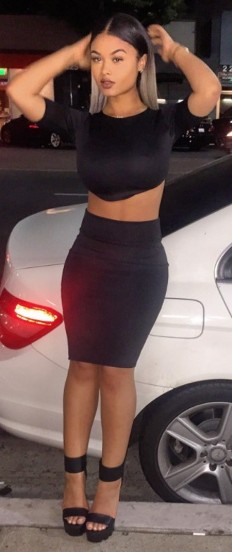 skirt india love westbrooks all black everything two-piece clubwear turnt rich bitch bad bitch shirt shoes jewels