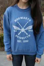 blue sweater,sweater,hogwarts,blue,harry potter