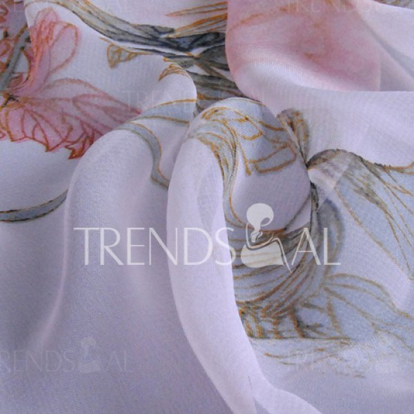 Chic Handpainted Peonies and Leaves Pattern Chiffon Scarf For Women