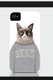 jewels,iphone case,iphone 4 case,style,grumpy cat,cats,sweater