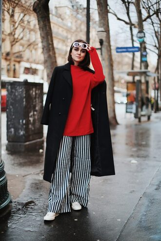 pants stripes converse red blouse coat black coat blouse white sunglasses sunglasses