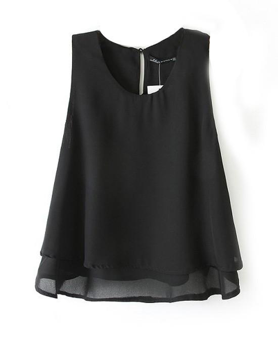 Western Style Double layer Chiffon Sleeveless T-shirt