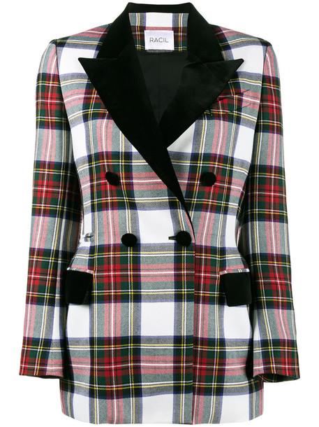 blazer women wool tartan jacket