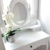 home accessory,home decor,coiffeuse,rangement,make-up,blanc,makeup table