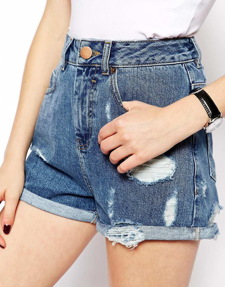 ASOS High Waist Denim Mom Shorts in Mid Wash with Rips at asos.com