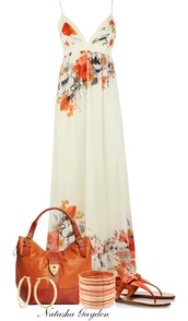 dress,floral,summer,coral,v neck,maxi,maxi dress,floral maxi dress,silk dress,white floral dress,white orange maxi