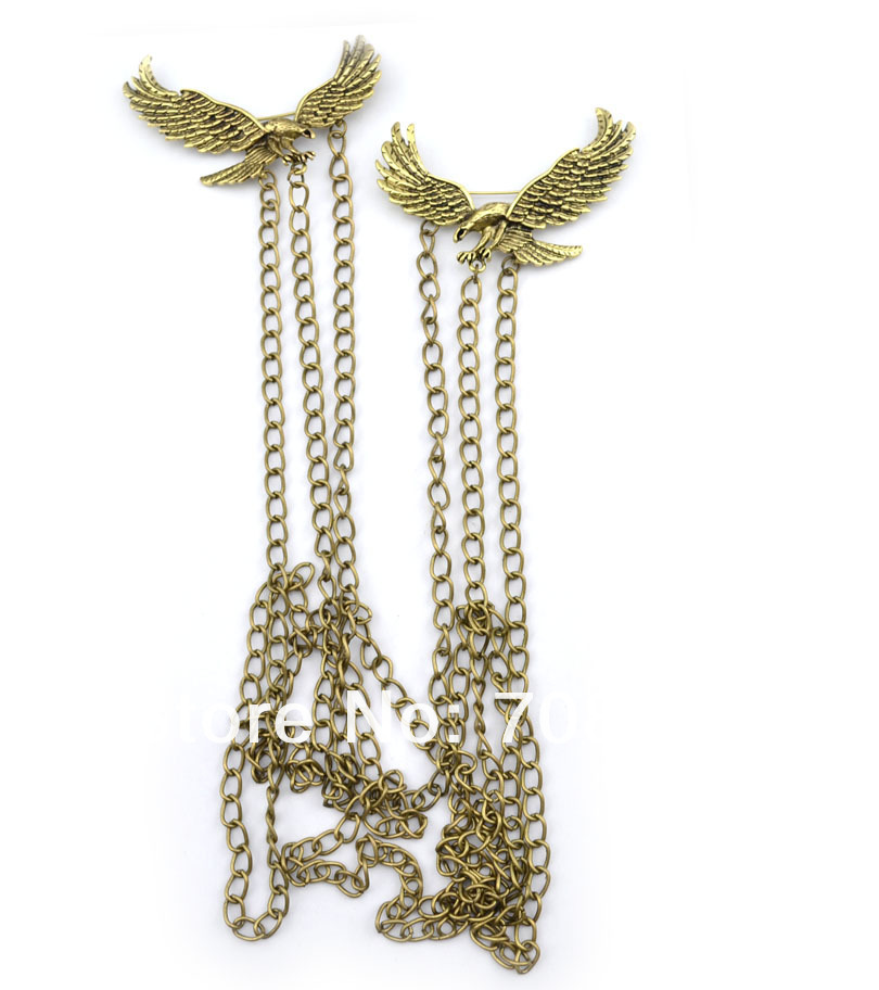 New Fashion Gothic Style Gold/Bronze Double Eagles Necklaces multilayers Long Link Back Chain Brooch PIn Necklace-in Chain Necklaces from Jewelry on Aliexpress.com
