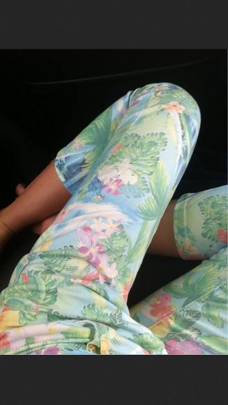 tropical print leggings pants tumblr jeans tropical print white pans