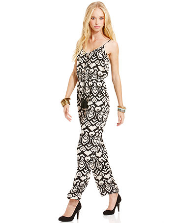 American Rag Spaghetti-Strap Ikat-Print Jumpsuit - Juniors Pants & Leggings - Macy's