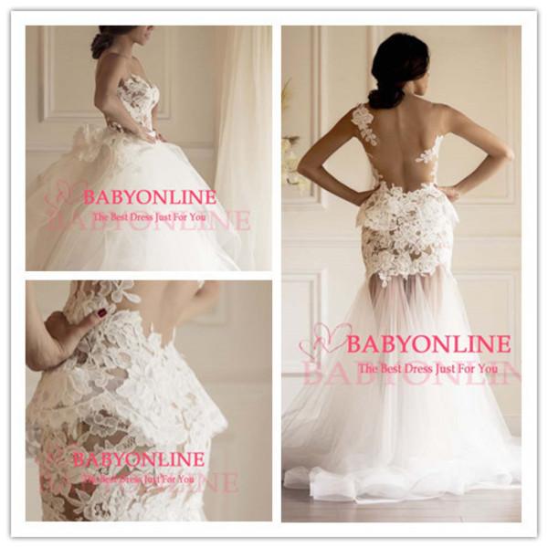 wedding dress wedding gown lace mermaid wedding dress detachable skirt wedding dress see through wedding dress long wedding dress prom dress evenign dress