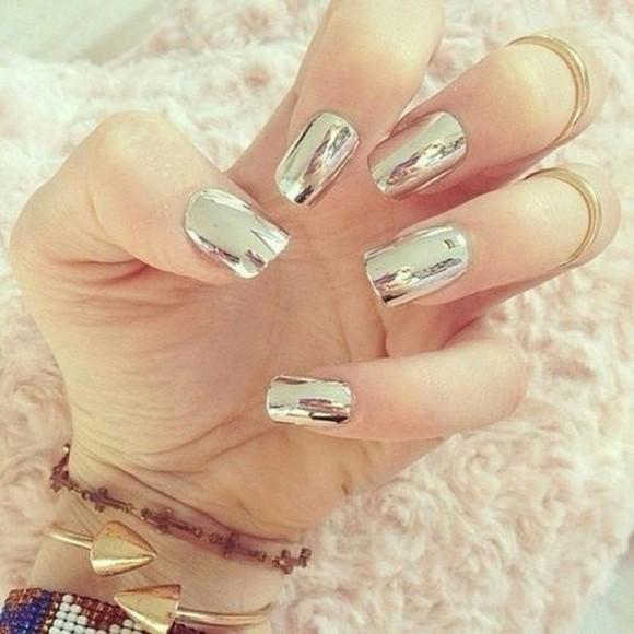 nail polish mirror silver spiegel style trendy chic gypsy soft grunge